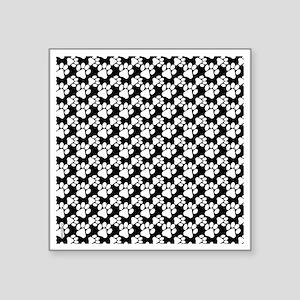 "Dog Paws Black-Small Square Sticker 3"" x 3"""