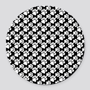 Dog Paws Black-Small Round Car Magnet