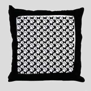 Dog Paws Black-Small Throw Pillow