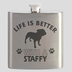 Staffy dog designs Flask