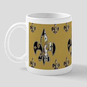 Fleur de lis bling black and gold Mug