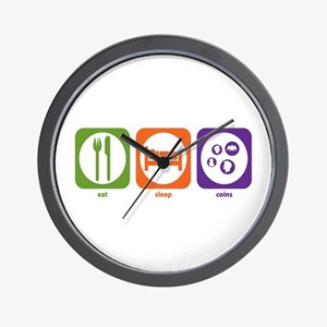 Eat Sleep Coins Wall Clock