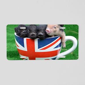 Tea Cup Piggies Aluminum License Plate