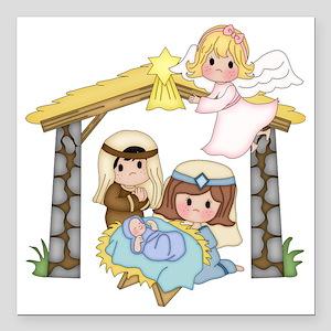 "Childrens Nativity Square Car Magnet 3"" x 3"""