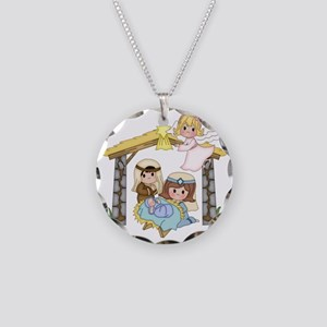 Childrens Nativity Necklace Circle Charm
