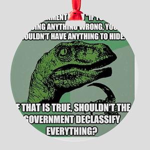 Philosoraptor On The NSA Round Ornament