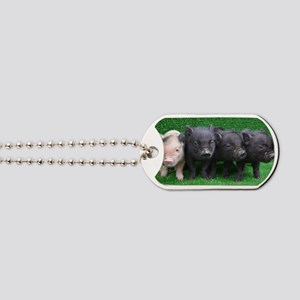 4 micro pigs in a row Dog Tags
