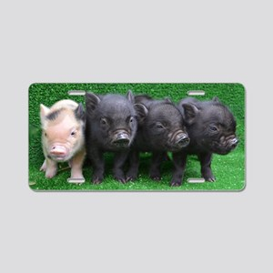 4 micro pigs in a row Aluminum License Plate