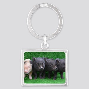 4 micro pigs in a row Landscape Keychain