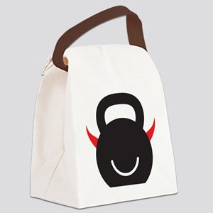 Happy Kettlebell with horns Canvas Lunch Bag