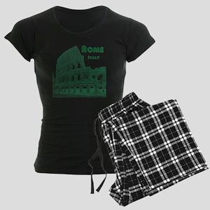 Rome_10x10_v1_Green_Colosseu Women's Dark Pajamas