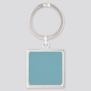 Teal Spiral Square Keychain