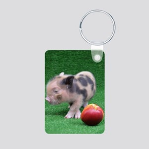 Baby micro pig with Peach Aluminum Photo Keychain
