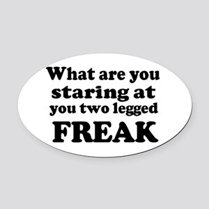 Two legged Freak Oval Car Magnet