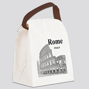 Rome_12X12_v2_Black_Colosseum Canvas Lunch Bag