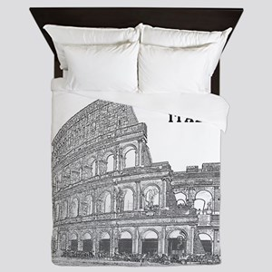 Rome_12X12_v2_Black_Colosseum Queen Duvet