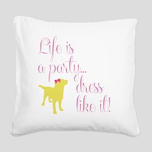 Preppy Puppy Square Canvas Pillow