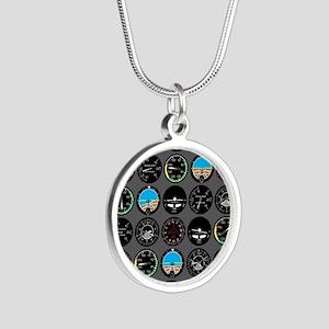 Flight Instruments Silver Round Necklace