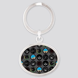 Flight Instruments Oval Keychain