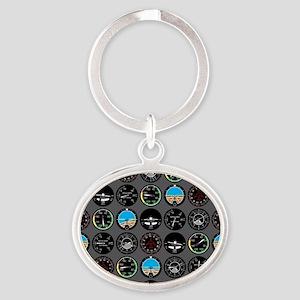 Flight Instruments Oval Keychain