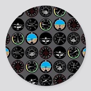 Flight Instruments Round Car Magnet