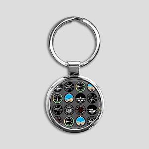Flight Instruments Round Keychain