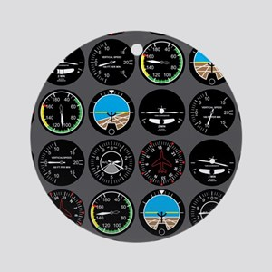 Flight Instruments Round Ornament
