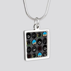 Flight Instruments Silver Square Necklace