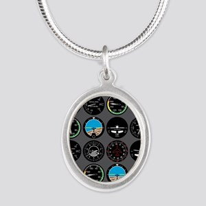 Flight Instruments Silver Oval Necklace