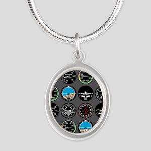 Flight Instruments Silver Oval Necklace