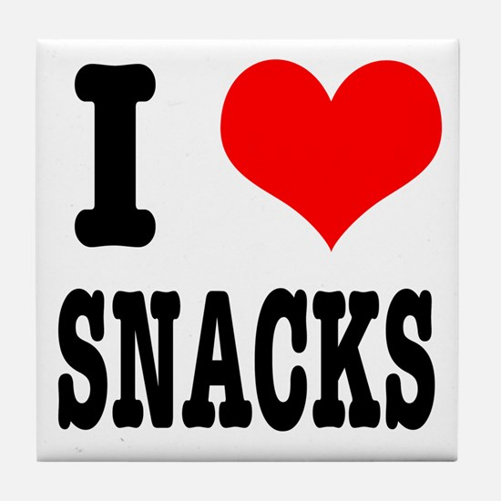 I Heart (Love) Snacks Tile Coaster