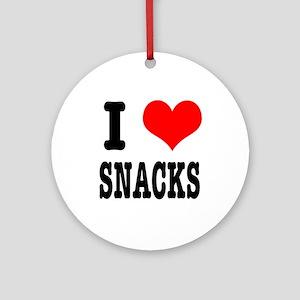 I Heart (Love) Snacks Ornament (Round)