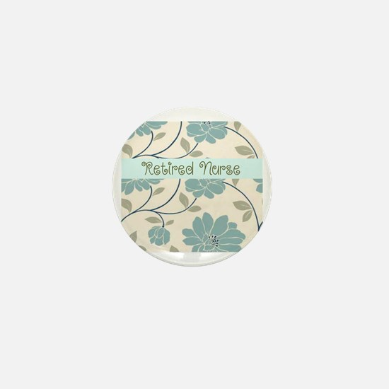 retired nurse blue flower pillow Mini Button