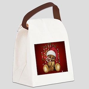 Santa Teddy Bear with Candy Cane Canvas Lunch Bag