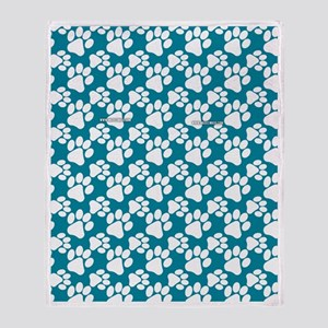 Dog Paws Teal Throw Blanket
