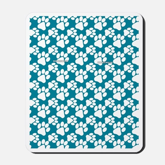 Dog Paws Teal Mousepad