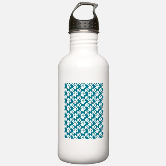 Dog Paws Teal Water Bottle