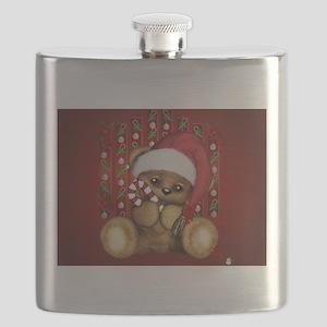 Santa Teddy Bear with Candy Cane Flask