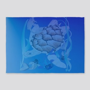 Mens b Big White Turtle and Friends 5'x7'Area Rug