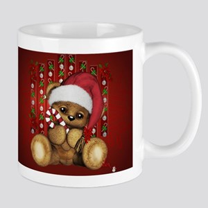 Santa Teddy Bear with Candy Cane Mugs
