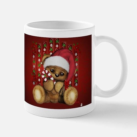 Santa Teddy Bear with Candy Cane Mugs