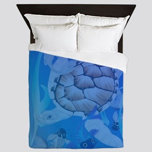 Womens b Big White Turtle and Friends Queen Duvet