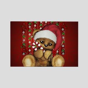 Santa Teddy Bear with Candy Cane Magnets