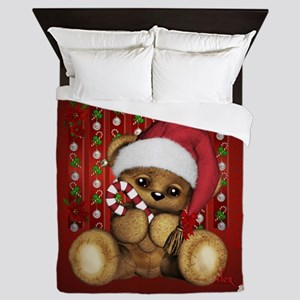 Santa Teddy Bear with Candy Cane Queen Duvet
