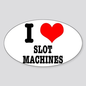 I Heart (Love) Slot Machines Oval Sticker
