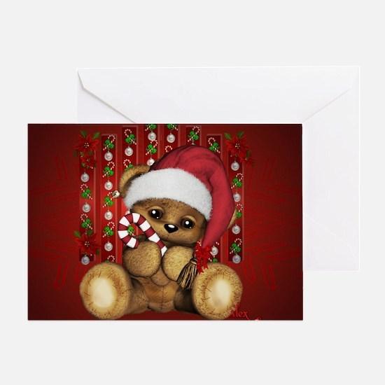 Santa Teddy Bear With Candy Cane Greeting Cards