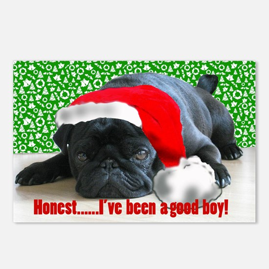 pug in santa Hat Postcards (Package of 8)