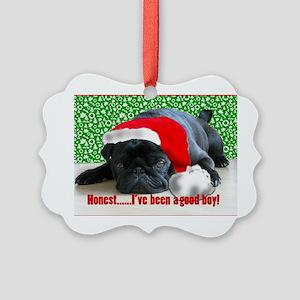 pug in santa Hat Picture Ornament