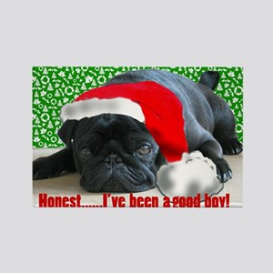 pug in santa Hat Rectangle Magnet