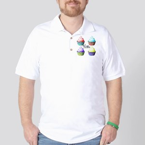 High Contrast Polka Dot Cupcakes Golf Shirt